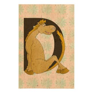 Pony Monogram Letter D Personalized Cork Paper Prints