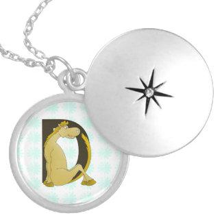 Pony Monogram Letter D Personalized Round Locket Necklace