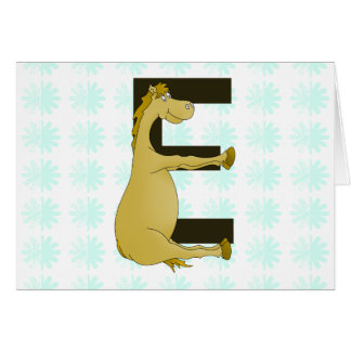Pony Monogram Letter E Personalized Cards