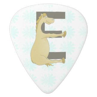 Pony Monogram Letter E Personalized White Delrin Guitar Pick