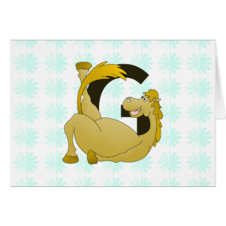 Pony Monogram Letter G Personalized Cards