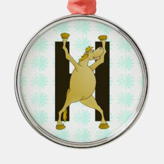Pony Monogram Letter H Personalized Ornament