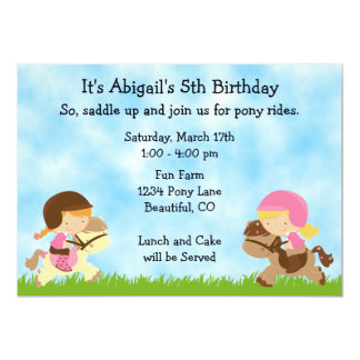 "Pony Party Birthday Invitation for Girls 5"" X 7"" Invitation Card"