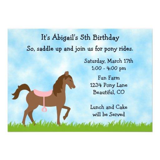 Pony Party Birthday Invitation for Girls