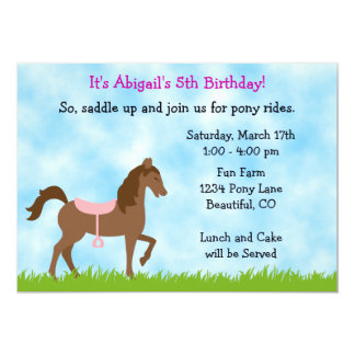 Pony Party Birthday Invitation for Girls