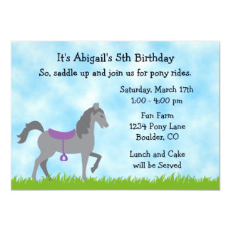 Pony Party Horse Birthday Invitation for Girls