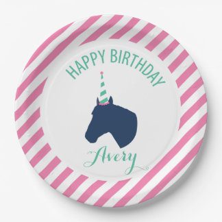 Pony Party Personalized Paper Plate Pink 9 Inch Paper Plate