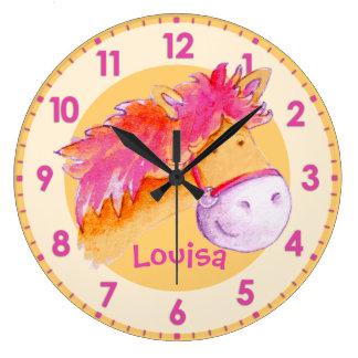 Pony pink orange girls room named wall clock