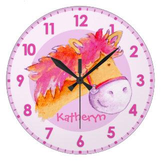 Pony pink orange purple girls room name wall clock