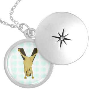 Pony Y Personalized Monogram Round Locket Necklace