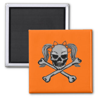 Ponytail skull and crossbones with orange bows square magnet