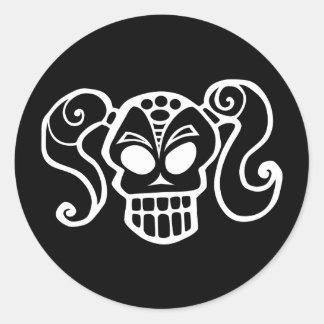 Ponytail skull goth girl stickers