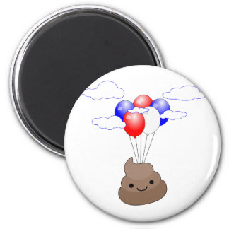 Poo Emoji Flying With Balloons 6 Cm Round Magnet