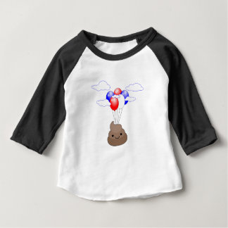 Poo Emoji Flying With Balloons Baby T-Shirt
