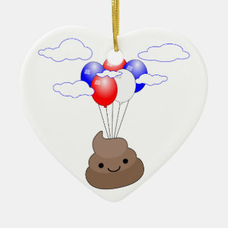 Poo Emoji Flying With Balloons Ceramic Ornament
