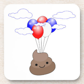 Poo Emoji Flying With Balloons Coaster