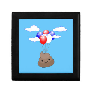 Poo Emoji Flying With Balloons In Blue Sky Gift Box