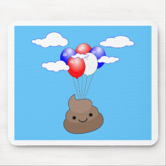 Poo Emoji Flying With Balloons In Blue Sky Mouse Pad