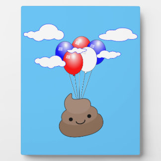 Poo Emoji Flying With Balloons In Blue Sky Plaque