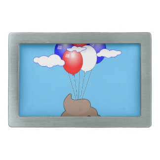 Poo Emoji Flying With Balloons In Blue Sky Rectangular Belt Buckle