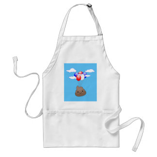 Poo Emoji Flying With Balloons In Blue Sky Standard Apron
