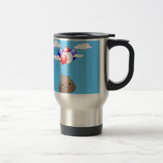 Poo Emoji Flying With Balloons In Blue Sky Travel Mug