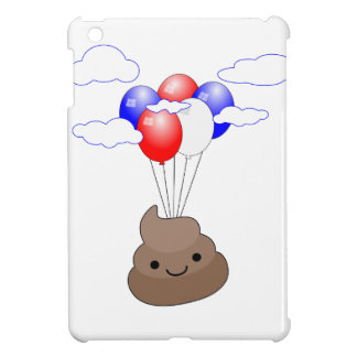 Poo Emoji Flying With Balloons iPad Mini Cases