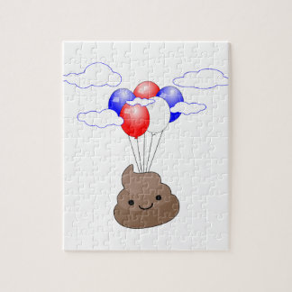 Poo Emoji Flying With Balloons Jigsaw Puzzle