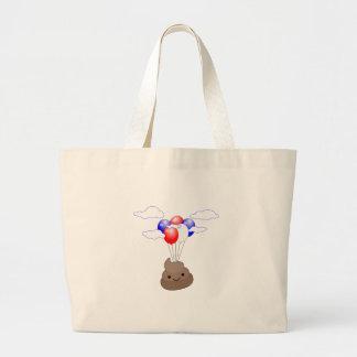 Poo Emoji Flying With Balloons Large Tote Bag