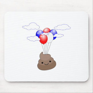 Poo Emoji Flying With Balloons Mouse Pad