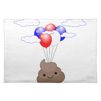 Poo Emoji Flying With Balloons Placemat