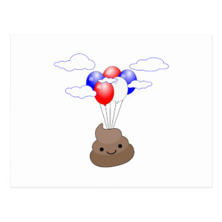 Poo Emoji Flying With Balloons Postcard