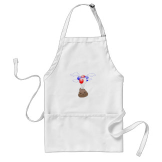 Poo Emoji Flying With Balloons Standard Apron