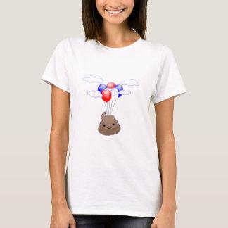 Poo Emoji Flying With Balloons T-Shirt