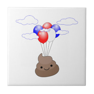 Poo Emoji Flying With Balloons Tile