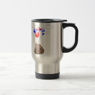 Poo Emoji Flying With Balloons Travel Mug