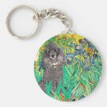 Poodle (8S) - Irises Basic Round Button Key Ring