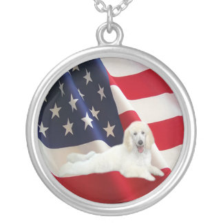 Poodle American Flag Necklace