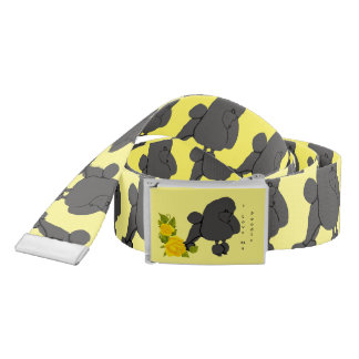 Poodle and Yellow Roses Belt