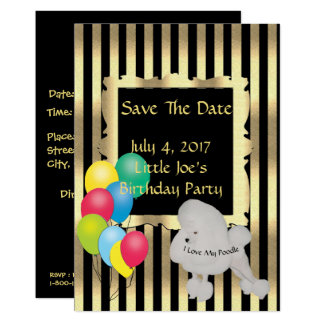 Poodle and Yellow Roses Save The Date Card