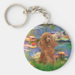 Poodle (Apricot 10) - Lilies 2 Basic Round Button Key Ring