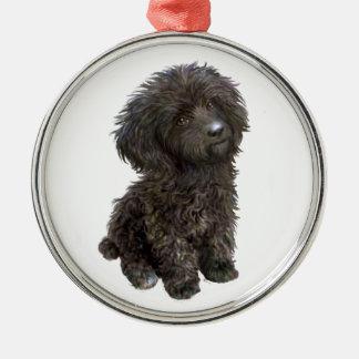 Poodle - black toy pup metal ornament