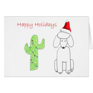 Poodle Cactus Christmas Card