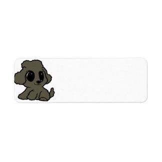 poodle cartoon silver return address label