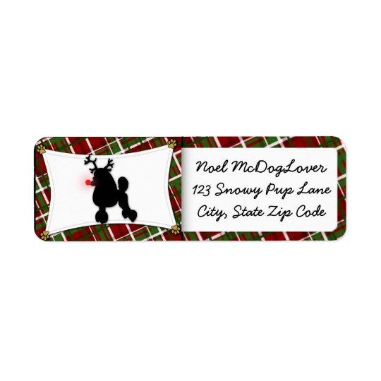 Poodle Christmas Return Address Label