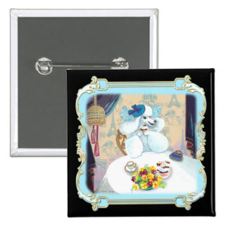 Poodle Cupcake Tea Party 15 Cm Square Badge