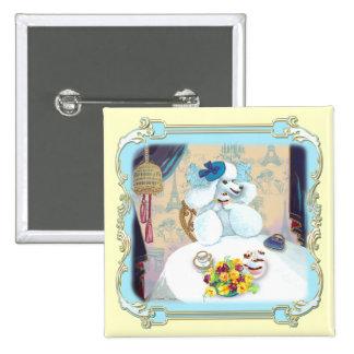 Poodle Cupcake Tea Party 15 Cm Square Badge