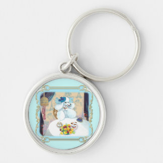 Poodle Cupcake Tea Party Silver-Colored Round Key Ring