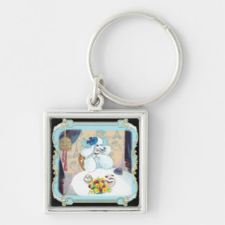 Poodle Cupcake Tea Party Silver-Colored Square Key Ring