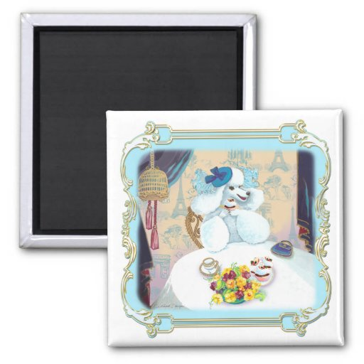 Poodle Cupcake Tea Party Square Magnet